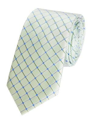 EPIC 0004 Μεταξωτή υφαντή πράσινη γραβάτα με γαλάζιο καρό