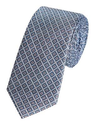 EPIC 0038 Μεταξωτή υφαντή γραβάτα με μπλε σκούρο φόντο και διακριτικό μοτίβο με βούλες