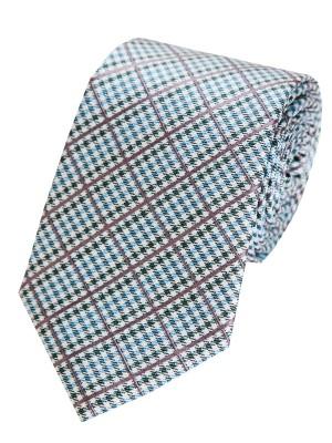 EPIC 0011 Μεταξωτη τυρκουάζ καρό γραβάτα