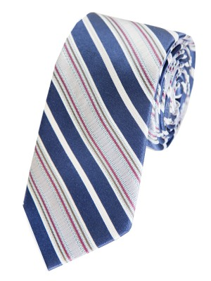 EPIC 0053 Μπλε ριγέ υφαντή γραβάτα από φυσικό μετάξι