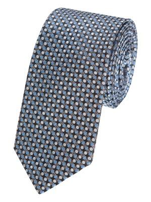 EPIC 0064 Γραβάτα μεταξωτή υφαντή σε μπλε χρώμα με όμορφο ασημί μοτίβο