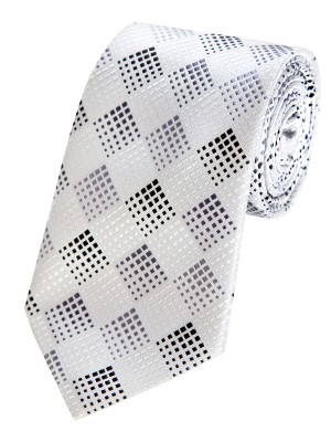 EPIC 0222 Ασπρόμαυρη καρό ολομέταξη υφαντή γραβάτα
