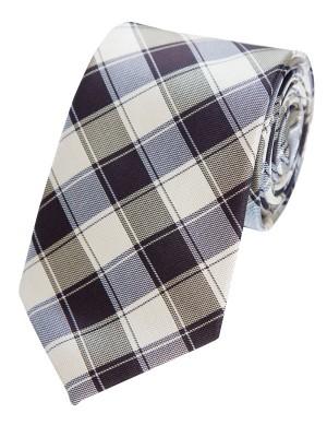EPIC 0232 Καφέ καρό μεταξωτή υφαντή γραβάτα