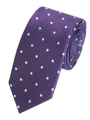 EPIC 0413 Σκούρα μπλε υφαντή ολομέταξη γραβάτα με λευκές βούλες