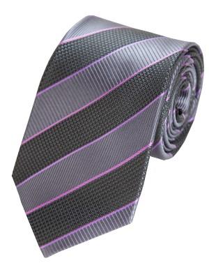 EPIC 0403 Χειροποίητη μεταξωτή γραβάτα με μαύρες και ασημί ρίγες