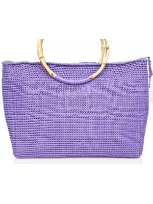 EXCELLENCE χειροποίητη γυναικεία τσάντα μωβ