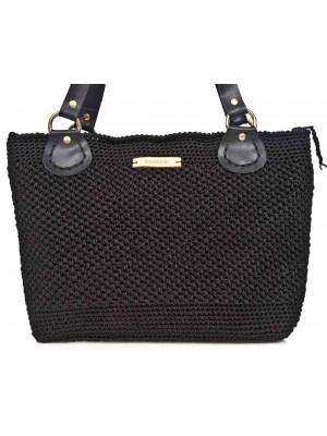 PRECIOUS χειροποίητη γυναικεία τσάντα μαύρη με δερμάτινο λουρί