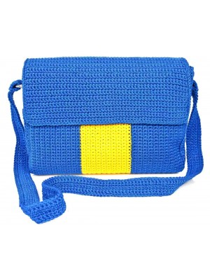 TROPHY χειροποίητη γυναικεία τσάντα μπλε κίτρινη