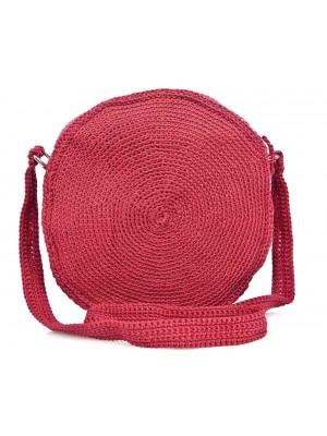 SENSATION χειροποίητη γυναικεία τσάντα φούξια στρογγυλή