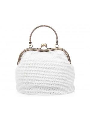 DESIRE χειροποίητη γυναικεία τσάντα λευκή πουγκί