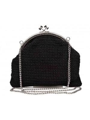 GLORY χειροποίητη γυναικεία τσάντα μαύρη πουγκί