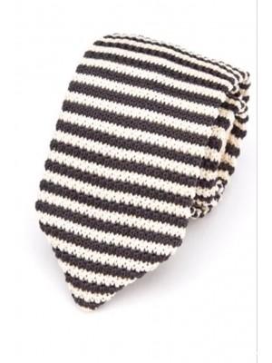 EPIC 0508 Ριγέ άσπρη και μαύρη πλεκτή γραβάτα πλάτους 7 cm