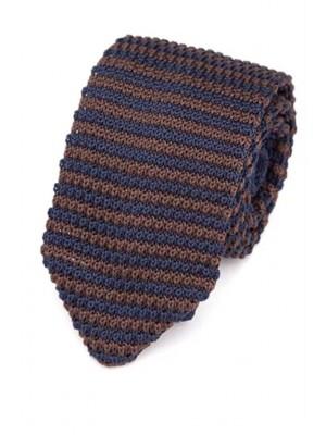 EPIC 0505 Ριγέ μπλε καφέ πλεκτή γραβάτα πλάτους 7 cm