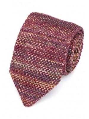 EPIC 0507 Κόκκινη μπορντώ πλεκτή γραβάτα πλάτους 7 cm