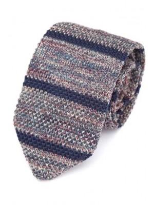 EPIC 0504 Ριγέ γκρι πλεκτή γραβάτα πλάτους 7 cm