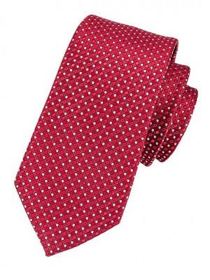 EPIC 0442 Κόκκινη μεταξωτή υφαντή γραβάτα με μικρά λευκά τετράγωνα